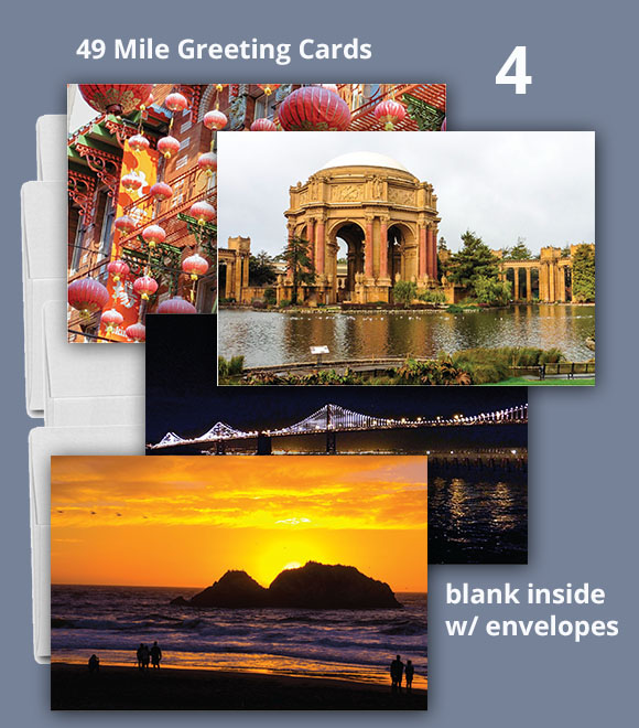4 San Francisco 49 Mile Drive Greeting Cards, 5x7