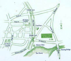 Map showing position of Leper Hospital outside the walls