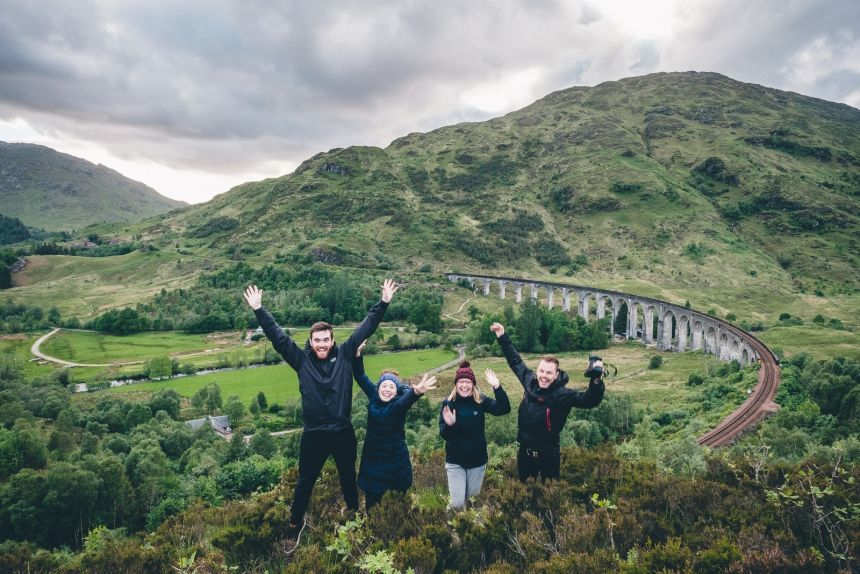 Scotland Fort William Four of us at Glenfinnan Viaduct