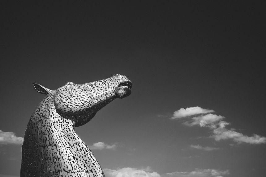 Scotland The Kelpies Black and White