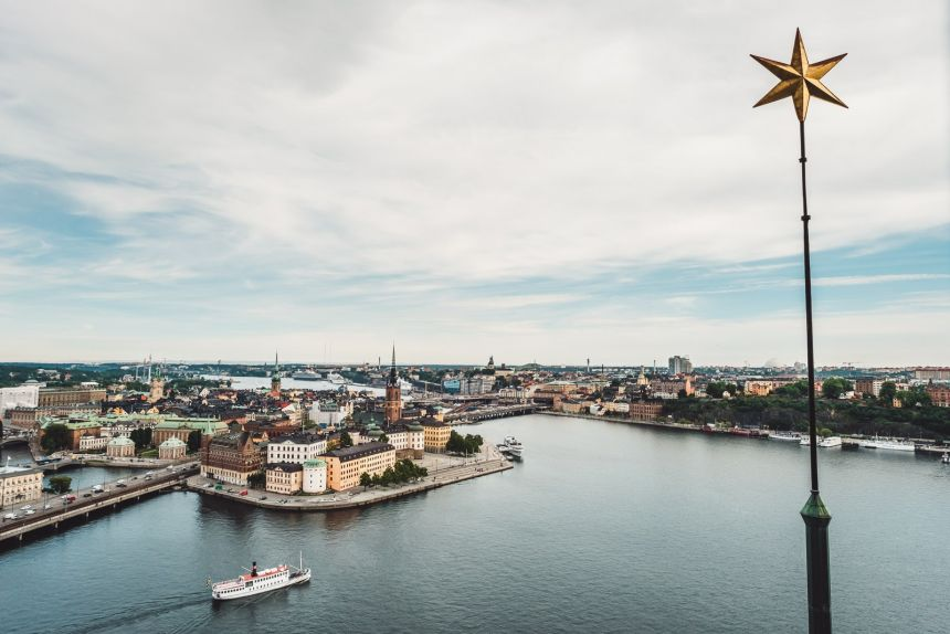 Stockholm City Hall Tower View Boat