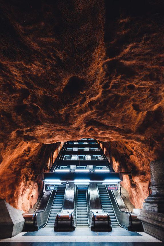 Stockholm Radhuset Metro Station Art Red