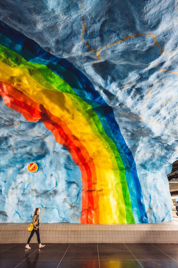 Stockholm Stadion Metro Art Rainbow Anna