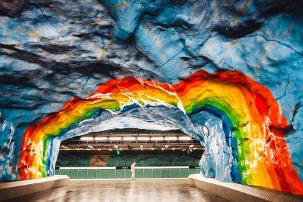 Stockholm Stadion Metro Art Rainbow