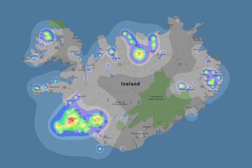 Iceland Dark Sky Map Northern Lights