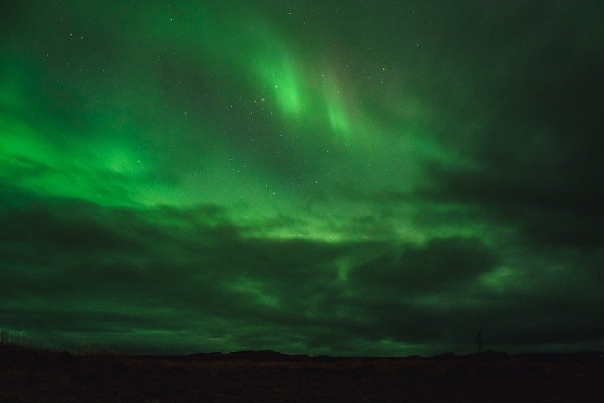 Northern Lights Green Sky Clouds