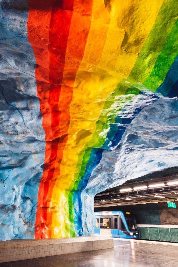 Stockholm Stadion Subway Station Art Rainbow