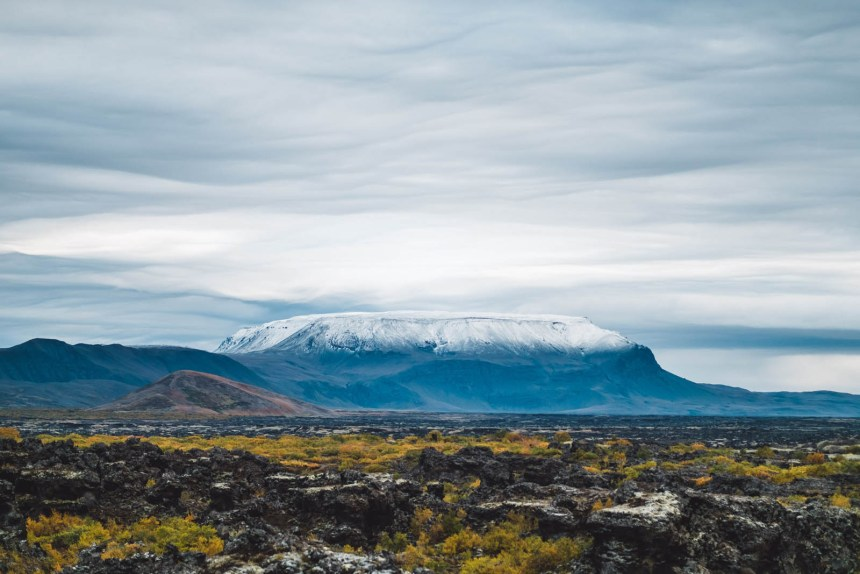 Iceland North Dimmuborgir Epic Snowy Mountain View