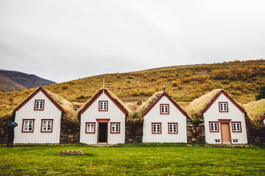Iceland North Laufas Turf Houses Front Landscape