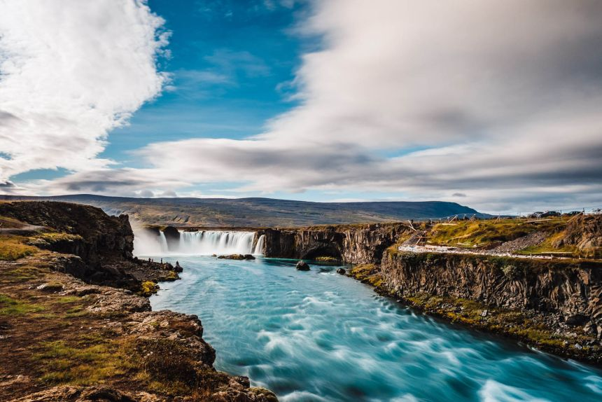 Iceland North Portrait Godafoss Blue Water Patterns
