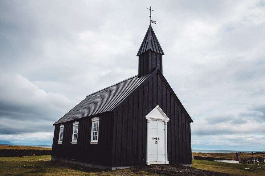 Iceland Snaefellsnes Buoakirkja Black Church