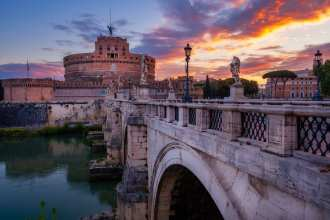 Castle of St. Angelo in Rome at sunrise, Italy