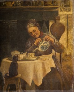 crone old woman pouring tea