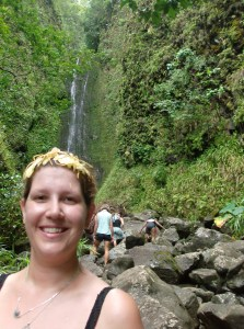 Me on the hike on the way in to the waterfall, with ginger flowers in my hair.