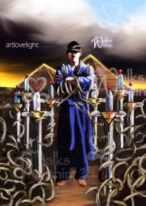 8 of swords tarot card Walks Within ArtLoveLight