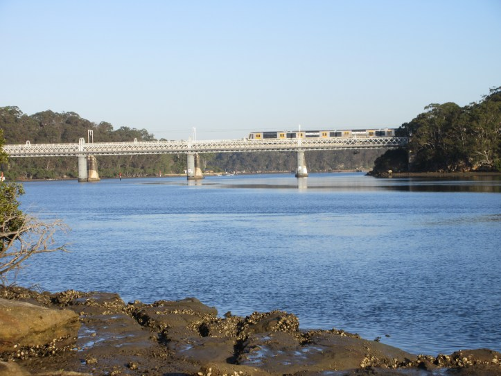 The old railway bridge with new bridge behind, taken from Green Point