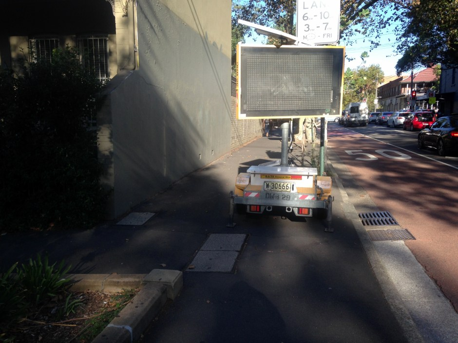 Electronic sign on Foveaux St