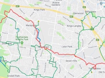Day 2 Sat 12th Toongabbie Station 9.30am to Richmond Rd. Western Sydney Parklands 3.40pm,750 or 754 bus to Blacktown stn.- 13.5kms