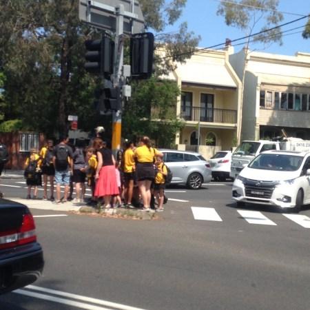 Children on pedestrian island