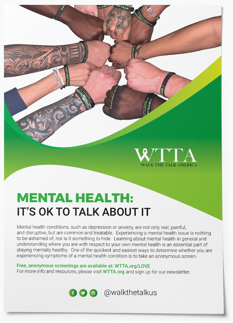 """A variety of people put their hands together wearing WTTA bracelets on the top of a flyer that reads """"Mental health -- it's okay to talk about it"""""""