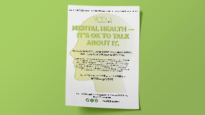 Photo of WTTA mental health awareness flyer