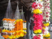 Flower garlands for sale. Tied by a widow who has learned to make her living.