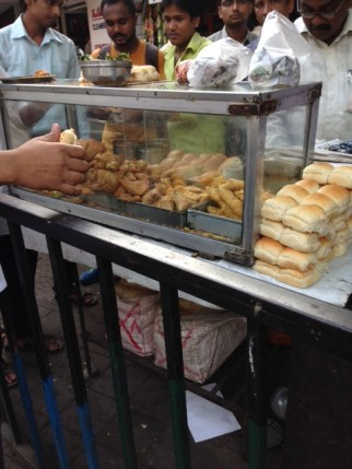 Vada Pav and Samosa at street kiosk, Mumbai
