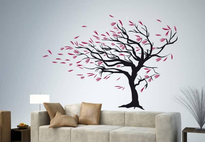 Wandtattoo Baum Im Wind - Herbstdeko Mit Baum