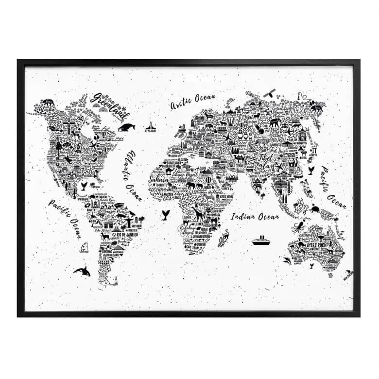 Poster Weltkarte Around The World Wall Art De