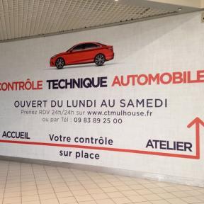 Habillage Mural Signalétique Contrôle Automobile Centre Commercial Auchan Mulhouse