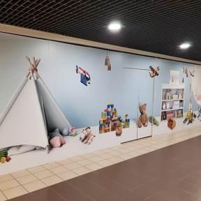Palissade Travaux Bois Visuel Enfant Centre Commercial Geant Angouleme