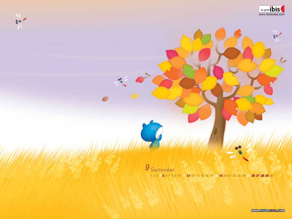 Animated Sunset Wallpaper 桌布天堂 韓國卡通桌布 Ibis系列 Ruuruu 和 Raaraa21