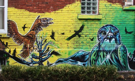 detail of mural by Fanny Aishaa in Rosemont