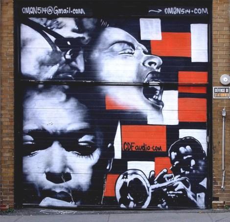 Omen mural on Bleury