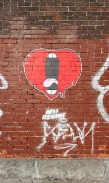 Tava paste-up of screaming heart, rue Aqueduc