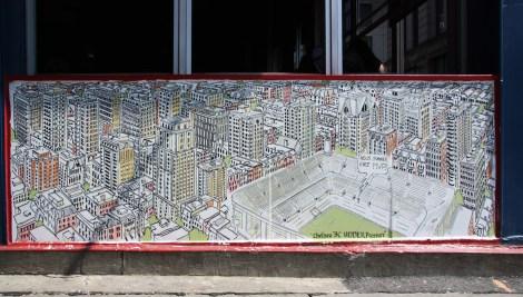 Under Pressure Festival zone 2014 - 210 Ste-Catherine - art by Jonathan Himsworth, Stadium Art Movement