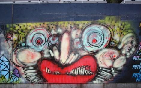 Under Pressure Festival zone 2014 - IAmBatman on boarded wall