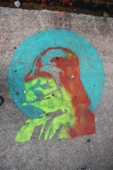 stencil by Graffiti Knight in alley between St-Laurent and Clark