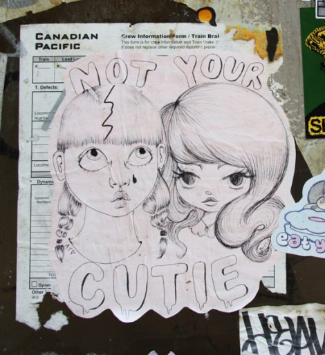 Collaboration paste-up between Ambivalently Yours (left) and Stela (right)