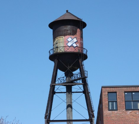 Axe logo on water tower in Hochelaga Maisonneuve