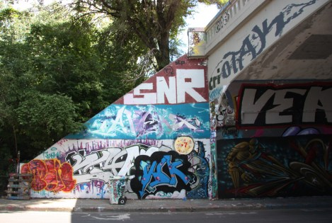 Penar (bottom left), unidentified (bottom right), Apashe (middle), Saner (top) at the Rouen tunnel legal graffiti wall