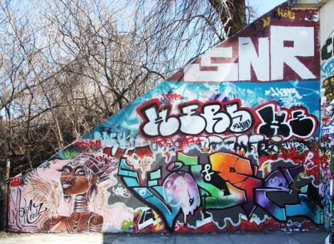 Maliciouz (bottom left), unidentified (bottom right), Hers (middle) and Saner (top) at the Rouen tunnel legal graffiti wall