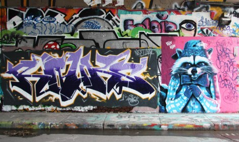 Rouks (left), someone from Orgzm (right) at the Rouen legal graffiti wall