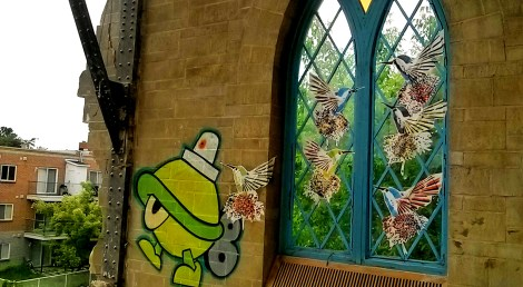 Turtle Caps (painted) and Lily Luciole (pasted birds) in abandoned church; photo © Lily Luciole
