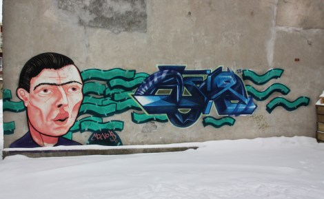 Mono Sourcil (left) and Hsix (right letters) in a Hochelaga back alley