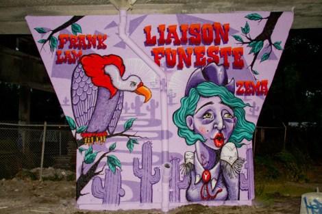 Zema and Frank Lam 'mural' on a pillar of the Van Horne|Rosemont overpass