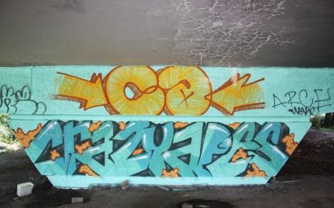 Crazy Apes graffiti on a pillar of the Van Horne|Rosemont overpass