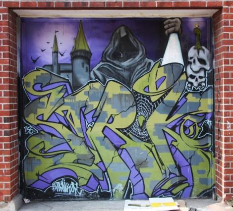 Stroke graffiti on garage door