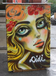 Didi aka Diana Contreras on the back of an information panel for the 2015 edition of Mural Festival