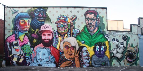 Family portrait in Plateau back alley featuring Shalak, Botkin, Kevin Ledo, Chris Dyer, BrunoSmoky, Lovebot, Turtle Caps, Linsey Levendall, Marina Capdevila Labrona, Waxhead and Dave Todaro
